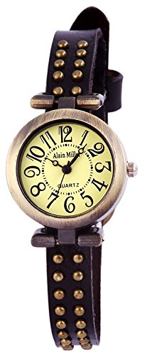 Alain Miller Uhr Mintgruen Lederarmband 25cm Dunkelbraun RP3715800001