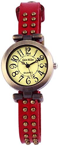 Alain Miller Uhr Mintgruen Lederarmband 25cm Dunkelrot RP3715790001