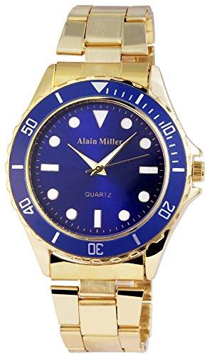 Alain Miller Herrenuhr analog Armbanduhr Goldfarbig Quarzwerk und Metallgehaeuse rund 44mm x 11mm Edelstahlarmband Goldfarbig 20cm x 22mm Faltschliesse und Ziffernblatt in blau RP4020300001