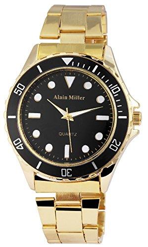 Alain Miller Herrenuhr analog Armbanduhr Goldfarbig Quarzwerk und Metallgehaeuse rund 44mm x 11mm Edelstahlarmband Goldfarbig 20cm x 22mm Faltschliesse und Ziffernblatt in schwarz RP4020100001