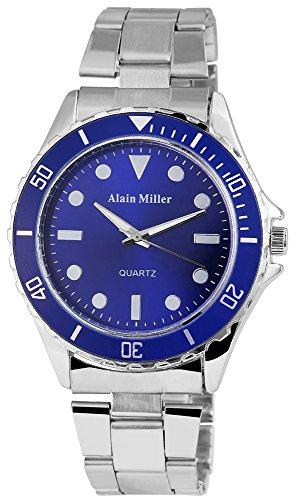 Alain Miller Herrenuhr analog Armbanduhr Silberfarbig Quarzwerk und Metallgehaeuse rund 44mm x 11mm Edelstahlarmband Silberfarbig 20cm x 22mm Faltschliesse und Ziffernblatt in blau RP4022300001