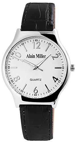 Alain Miller Herrenuhr analog Armbanduhr Silberfarbig Quarzwerk und Metallgehaeuse rund 38mm x 7mm Kunstlederarmband Schwarz 22cm x 18mm Dornschliesse und Ziffernblatt in weiss RP4032210003