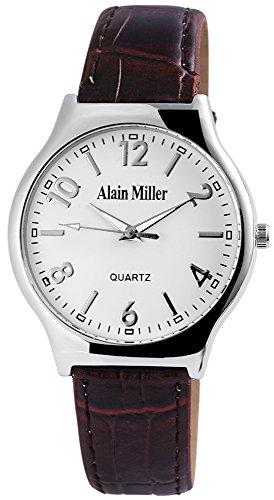Alain Miller Herrenuhr analog Armbanduhr Silberfarbig Quarzwerk und Metallgehaeuse rund 38mm x 7mm Kunstlederarmband Braun 22cm x 18mm Dornschliesse und Ziffernblatt in weiss RP4032200003