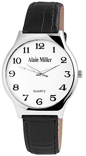 Alain Miller Herrenuhr analog Armbanduhr Silberfarbig Quarzwerk und Metallgehaeuse rund 38mm x 8mm Kunstlederarmband Schwarz 22cm x 18mm Dornschliesse und Ziffernblatt in silberfarbig RP4032200001