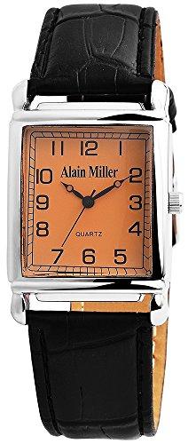 Alain Miller Herrenuhr analog Armbanduhr Silberfarbig Quarzwerk und Metallgehaeuse eckig x 10mm Kunstlederarmband Schwarz 22cm x 22mm Dornschliesse und Ziffernblatt in braun RP4032210002