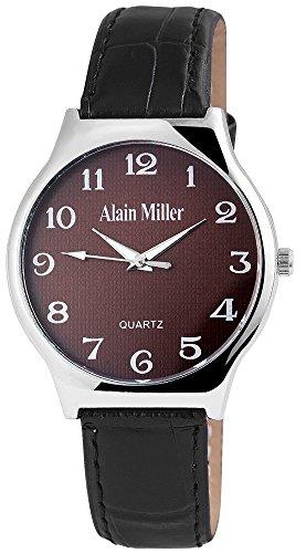 Alain Miller Herrenuhr analog Armbanduhr Silberfarbig Quarzwerk und Metallgehaeuse rund 38mm x 8mm Kunstlederarmband Schwarz 22cm x 18mm Dornschliesse und Ziffernblatt in dunkelbraun RP4032700001