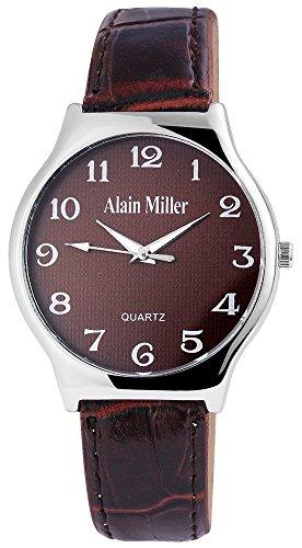 Alain Miller Herrenuhr analog Armbanduhr Silberfarbig Quarzwerk und Metallgehaeuse rund 38mm x 8mm Kunstlederarmband Braun 22cm x 18mm Dornschliesse und Ziffernblatt in dunkelbraun RP4032710001