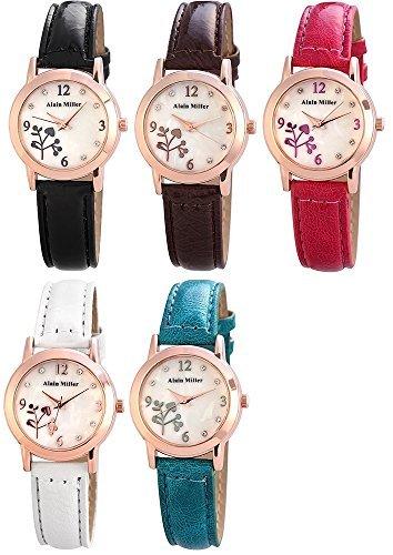 Attraktive Damenuhr mit Perlmut und Floralmuster Kunstlederarmband in 5 frische Farben
