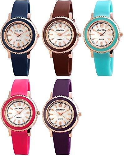 Modisch Peppige Damenuhr mit Perlmut Sachlich schlichtes Silikonarmband in 5 modernen Farben