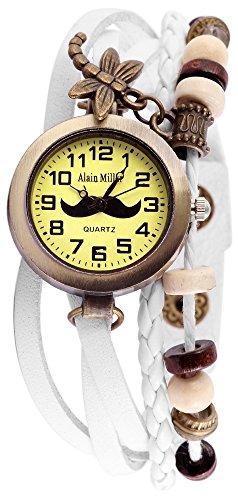 Damen Analog Armbanduhr mit Quarzwerk RP3705750005 und Metallgehaeuse mit Echt Lederarmband in Weiss Ziffernblattfarbe gruen Bandgesamtlaenge 19 cm Armbandbreite 14 mm