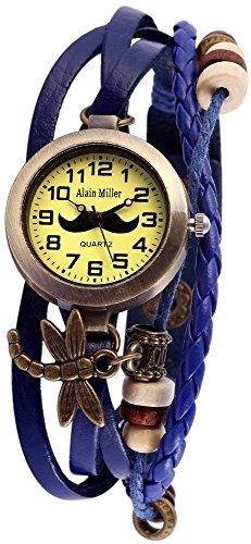 Damen mit Quarzwerk RP3705770005 und Metallgehaeuse mit Echt Lederarmband in Blau Ziffernblattfarbe gruen Bandgesamtlaenge 19 cm Armbandbreite 14 mm