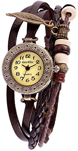 Damen Analog Armbanduhr mit Quarzwerk RP3705780001 und Metallgehaeuse mit Echt Lederarmband in Braun Ziffernblattfarbe gruen Bandgesamtlaenge 19 cm Armbandbreite 14 mm