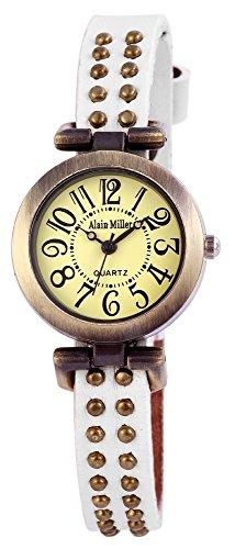 Damen Analog Armbanduhr mit Quarzwerk RP3715750001 und Metallgehaeuse mit Echt Lederarmband in Weiss und Dornschliesse Ziffernblattfarbe gruen Bandgesamtlaenge 25 cm Armbandbreite 10 mm
