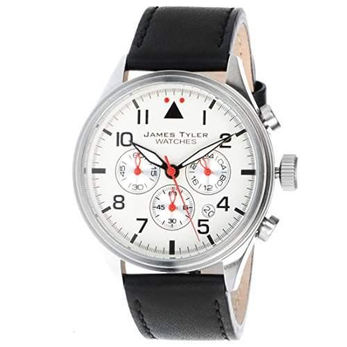 James Tyler Herren-Armbanduhr, Quarz Chronograph mit Lederarmband, JT706-1