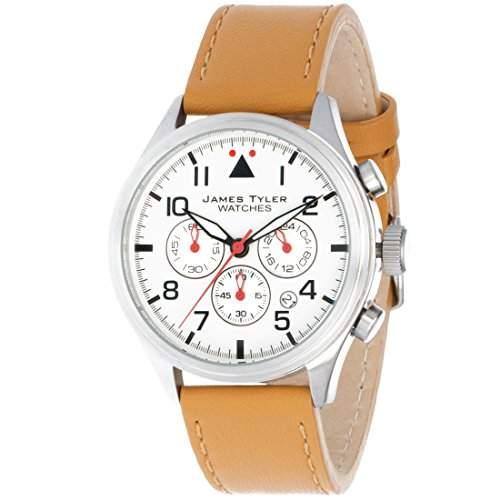 James Tyler Herren-Armbanduhr, Quarz Chronograph mit Lederarmband, JT706-2