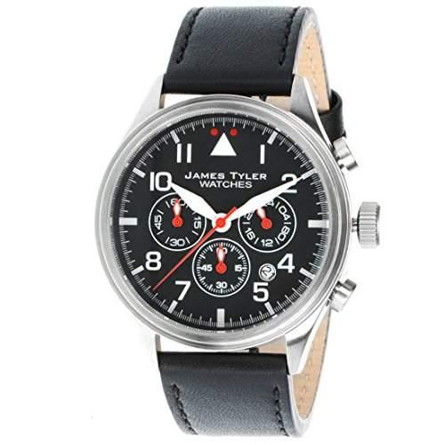 James Tyler Herren-Armbanduhr, Quarz Chronograph mit Lederarmband, JT706-4