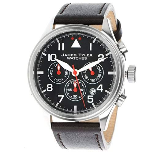 James Tyler Herren-Armbanduhr, Quarz Chronograph mit Lederarmband, JT706-6