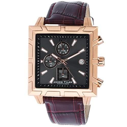 James Tyler Herren-Armbanduhr, Quarz Chronograph, Quadratisch Edelstahl gebuerstet JT710-2