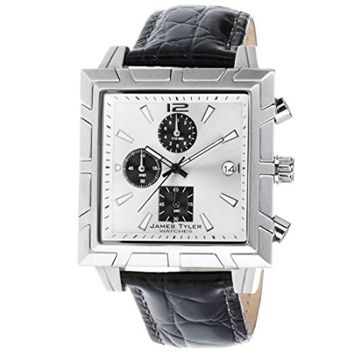 James Tyler Herren-Armbanduhr, Quarz Chronograph, Quadratisch Edelstahl gebuerstet JT710-3