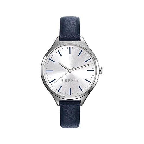 Esprit 34mm Armband Leder Blau Gehaeuse Edelstahl Batterie Zifferblatt Silber ES109272002