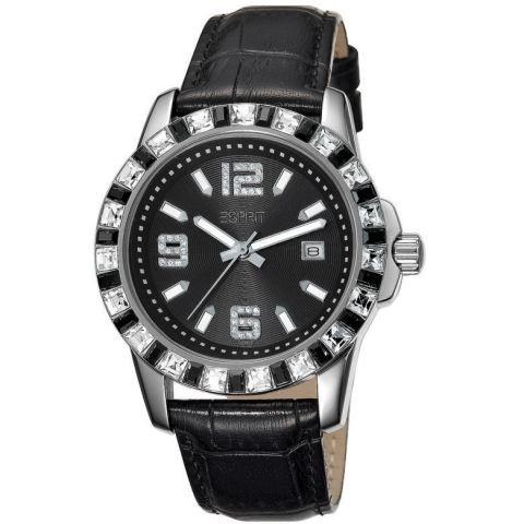 Esprit ES103342005 spark white black schwarz Lederband Edelstahl 30m Analog Datum