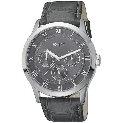 Esprit ES103732001 circuit grey grau Lederband Edelstahl 30m Analog Datum