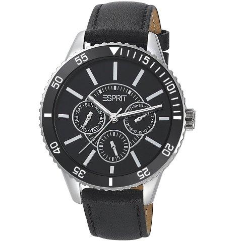 Esprit ES105082001 marin speed black Uhr Lederarmband Edelstahl 50m Analog Datum schwarz
