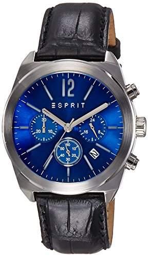 Esprit Dylan MenChrono Herren Quarzuhr mit blauem Zifferblatt Chronograph Anzeige und schwarzem Lederarmband ES107571002