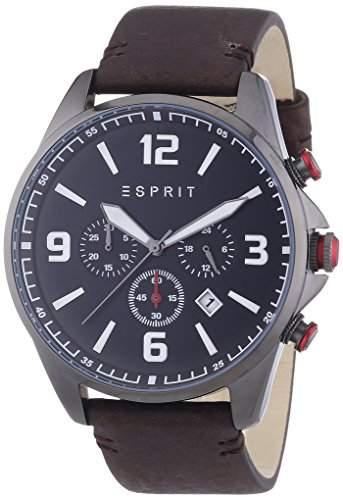 Esprit Herren-Armbanduhr XL Clayton Chronograph Quarz Leder ES108001001
