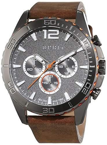 Esprit Herren-Armbanduhr ES-AIDEN BROWN Chronograph Quarz Leder ES108351002