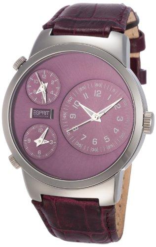 Esprit Uhr Damen EL101292F03 LEDER lila 3 Zeitzonen UVP 169 90 8858