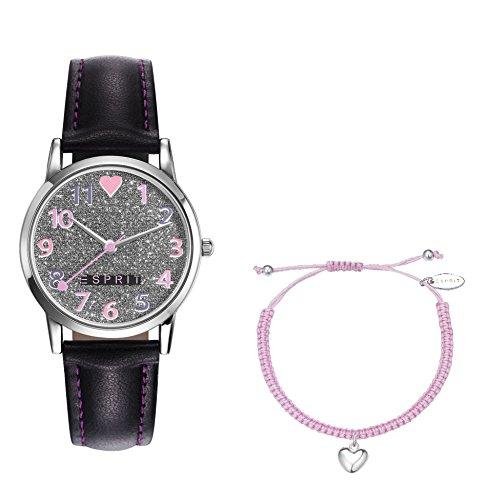 Esprit Maedchen Armbanduhr TP90650 BLACK Analog Quarz Leder ES906504001
