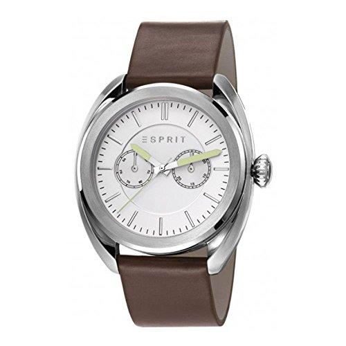 Esprit Herren Armbanduhr 44mm Armband Leder Braun Gehaeuse Edelstahl Batterie Zifferblatt Weiss ES108051001