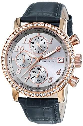 Esprit Damen-Armbanduhr Pontess Chrono Chronograph Quarz Leder EL190322010