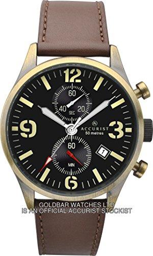 Accurist 7023 mit Lederarmband Uhr mit Datumsanzeige Braun