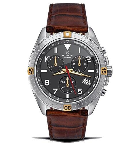 Accurist Chronograph Schwarz Zifferblatt braun Lederband 7142