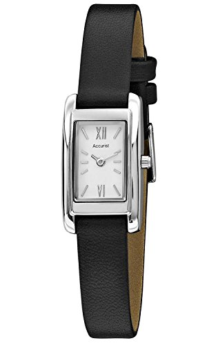 Accurist Classic weiss Zifferblatt schwarz Lederband ls642 W