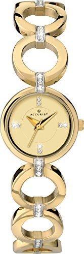 Accurist Goldfarbenes Zifferblatt mit Schmucksteinen Analog Display mit Goldfarbenem Edelstahl Armband mit Schmucksteinen 8058