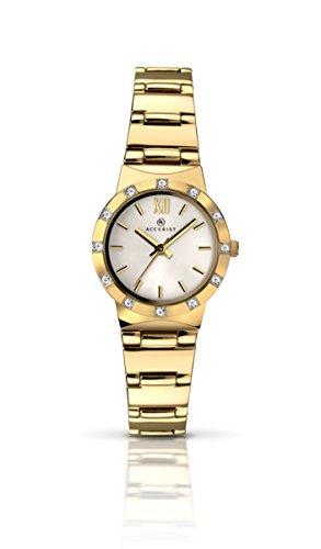 Accurist Damen Mutter von Pearl Zifferblatt Gold Armband Armbanduhr 8064