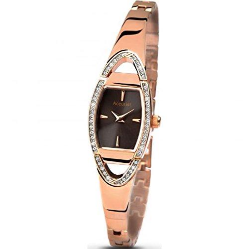 Accurist Damen braun Zifferblatt Analog Display Armbanduhr mit Rose Gold Edelstahl Armband lb1457