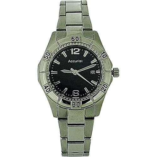 ACCURIST Damen Edelstahl Armbanduhr mit schwarzem Ziffernblatt und Datumsanzeige LB1674B
