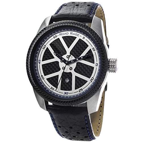 Road Rage Speedway Herren 46mm Schwarz Leder Armband Mineral Glas Uhr RR100Blue