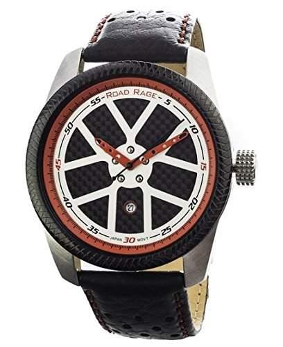 Road Rage Speedway Herren 46mm Schwarz Leder Armband Mineral Glas Uhr RR100Red