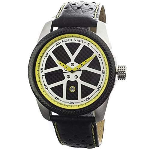 Road Rage Speedway Herren 46mm Schwarz Leder Armband Datum Uhr RR100Yellow