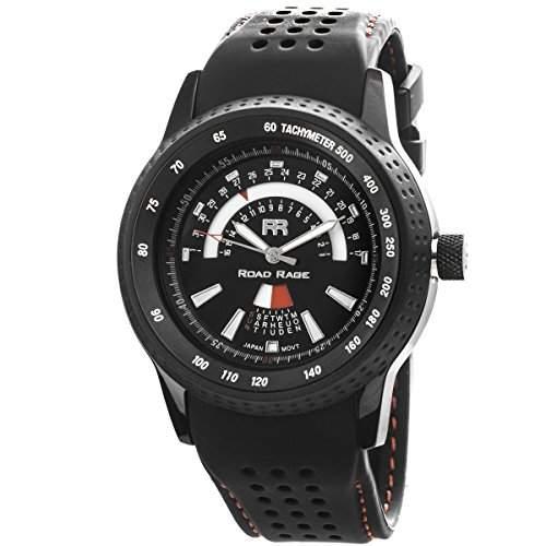 Road Rage Grand Prix Herren 46mm Schwarz Kautschuk Armband Datum Uhr RR101Black