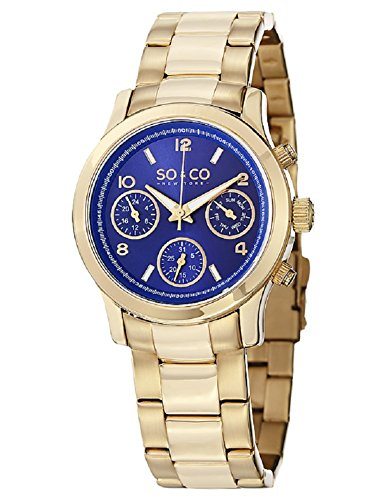 So Co WomenMadison New York Herren Quarzuhr mit blauem Zifferblatt Analog Edelstahl Gold 5012 3 Armband