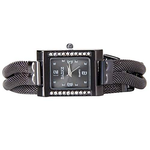 DEHANG Damen Armbanduhr mit Diamanten Design und Stahlband Uhr - Grau