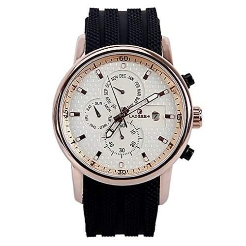 DEHANG Herren Mechanische Armbanduhr mit Analog Rund Zifferblatt und Woche  Kalender Gummiband Uhr - Weiss