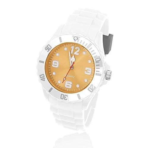 Silikon Uhr Armbanduhr Herren Damen Quarz Trend Weiss Gummi Watch Unisex weiss-grau