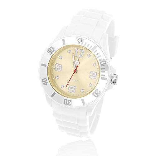 Silikon Uhr Armbanduhr Herren Damen Quarz Trend Weiss Gummi Watch Unisex weiss-weiss